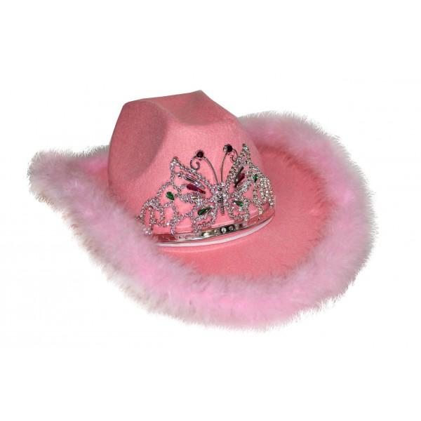 cappello rosa con marabout