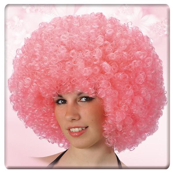 parrucca ricciolona rosa