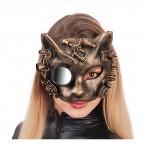 Maschera steampunk gatto oro